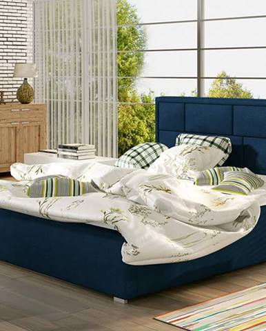 Liza 200 čalúnená manželská posteľ s roštom tmavomodrá