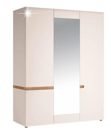 Lynatet 22 3D šatníková skriňa so zrkadlom biela