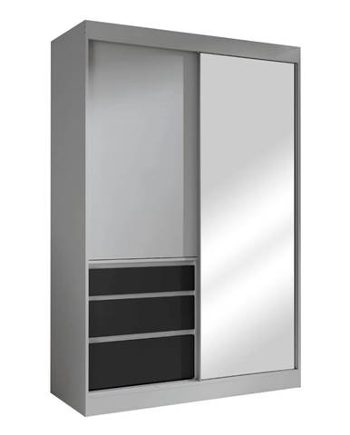 Romualda 140 šatníková skriňa s posuvnými dverami a zrkadlom sivá