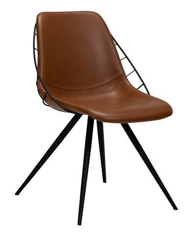 Hnedá jedálenská stolička z imitácie kože DAN-FORM Denmark Sway