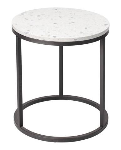 Odkladací stolík s kamennou doskou RGE Bianco, ø 50 cm