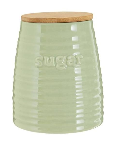 Premier Housewares Svetlozelená dóza s bambusovým vrchnákom na cukor Premier Housewares Winnie, 950 ml