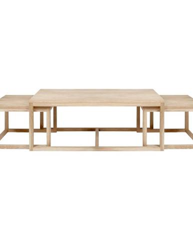 Súprava 3 hnedých konferenčný stolíkov s podnožím z dubového dreva Actona Cornus
