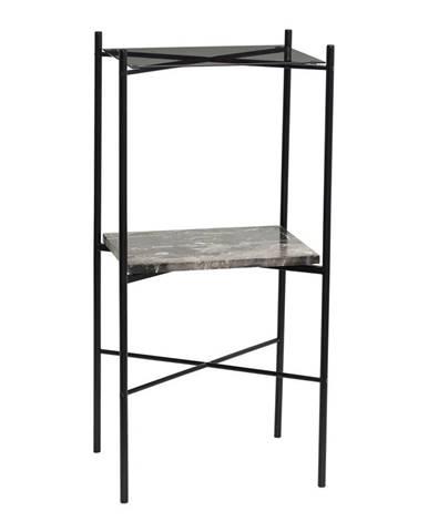 Dvojposchodový príručný stolík s doskou z mramoru Hübsch Halieo