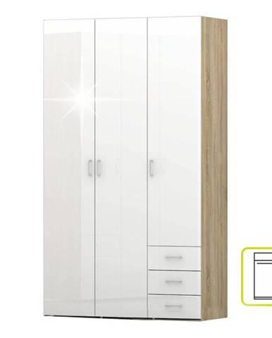 Skriňa biela extra vysoký lesk HG/dub sonoma GWEN 70427