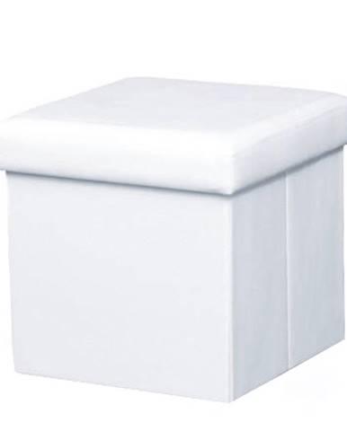 Skladací taburet ekokoža biela TELA NEW