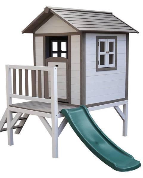 Kondela Drevený záhradný domček pre deti so šmykľavkou sivá/biela MAILEN