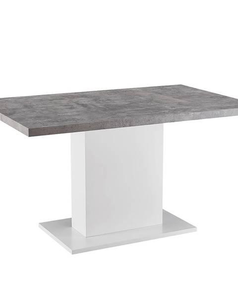 Tempo Kondela Jedálenský stôl betón/biela extra vysoký lesk KAZMA