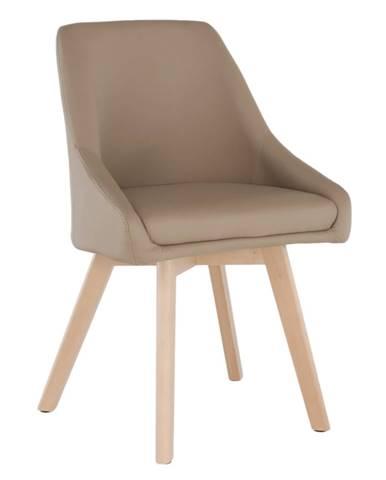 Jedálenská stolička béžová ekokoža/buk TEZA
