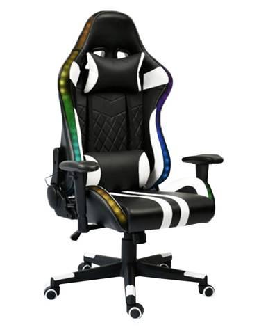 Kancelárske/herné kreslo s RGB podsvietením čierna/biela/farebný vzor ZOPA