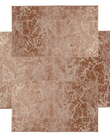 Spálňový set 3 ks moderný koberec béžová/zlatý vzor RAKEL TYP 2