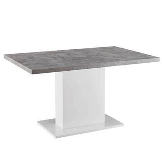 Jedálenský stôl betón/biela extra vysoký lesk KAZMA