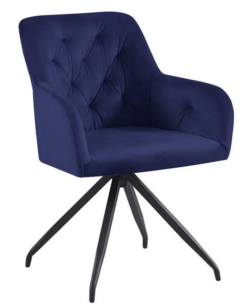 Kondela Otočná stolička modrá Velvet látka/čierna VELEZA