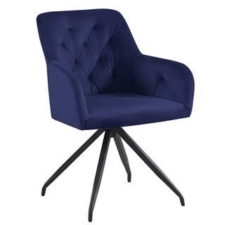 Otočná stolička modrá Velvet látka/čierna VELEZA