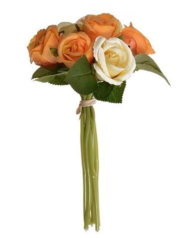 Umelá kytica pukov ruže oranžová, 22 cm