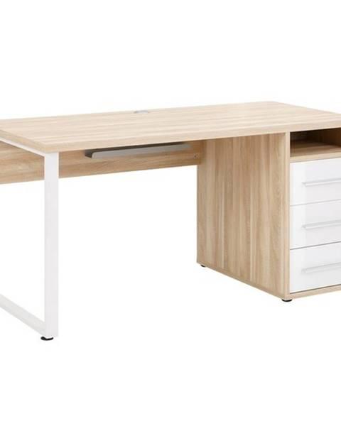 Sconto Písací stôl MUDDY dub natur/biele sklo, so zásuvkami