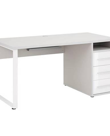 Písací stôl MUDDY sivá/biele sklo, so zásuvkam