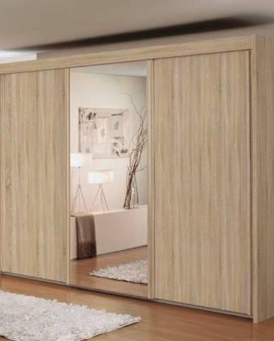 Šatníková skriňa KING dub sonoma, 300 cm, 1 zrkadlo