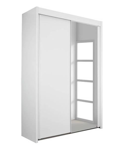 Sconto Šatníková skriňa KING 2 biela, 151 cm, 1 zrkadlo