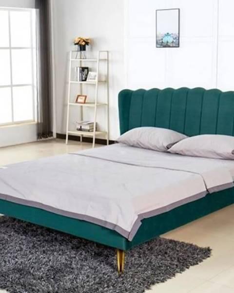 OKAY nábytok Čalúnená posteľ Florence 160x200, zelená, vrátane roštu