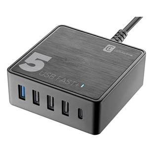 Nabíjačka do siete CellularLine Multipower 5 Fast+ , 4xUSB, 1xUSB-C