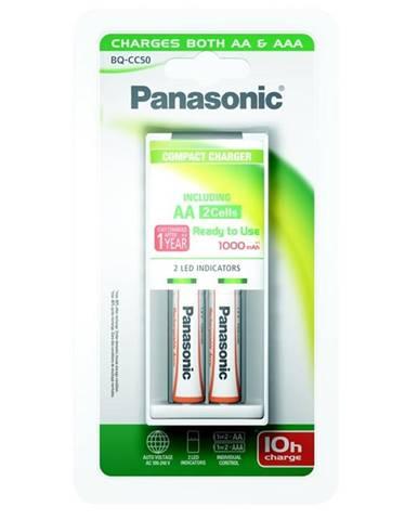Nabíjačka Panasonic BQ-CC50 Compact + AA, 1 000 mAh, 2 ks
