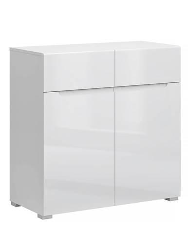 Komoda 2D2S biela/biely extra vysoký lesk HG JOLK