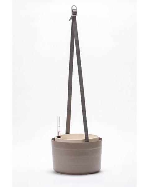 Plastia Plastia Samozavlažovací závesný kvetináč Berberis sivá + slonová kosť, pr. 26 cm