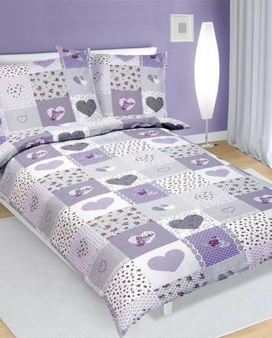Bellatex Bavlnené obliečky Srdce fialová, 140 x 200 cm, 70 x 90 cm