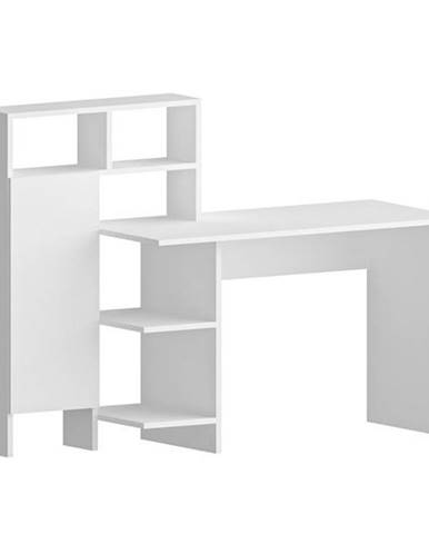 Písací stôl s regálom BUGRA biela