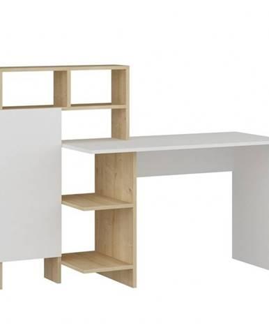 Písací stôl s regálom BUGRA dub/biela