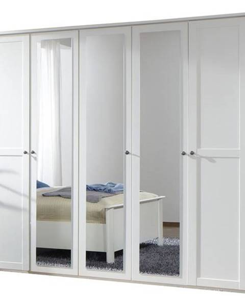 Sconto Šatníková skriňa CHASE biela, 225 cm, 3 zrkadlá