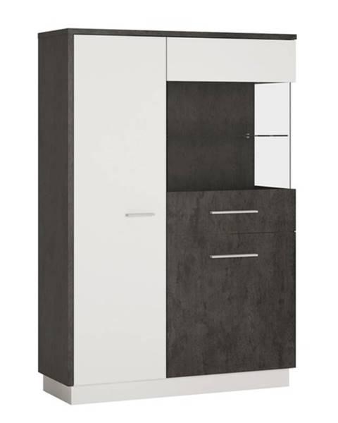 Sconto Vitrína ZINGARO pravá, 3-dverová, biela/sivá