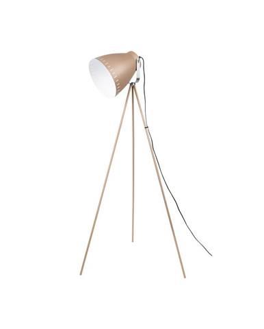 Pieskovohnedá stojacia lampa s detailmi v striebornej farbe Leitmotiv Mingle