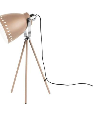 Pieskovohnedá stolová lampa s detailmi v striebornej farbe Leitmotiv Mingle