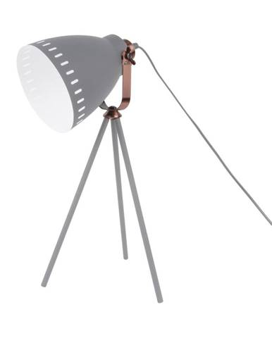 Sivá stolová lampa s detailmi v medenej farbe Leitmotiv Mingle