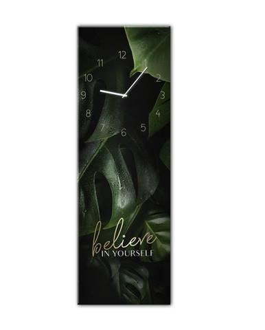 Nástenné hodiny Styler Glassclock Believe, 20×60 cm