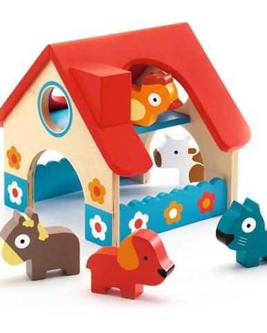 Drevený set farmy a 5 zvieratiek Djeco Farmhouse