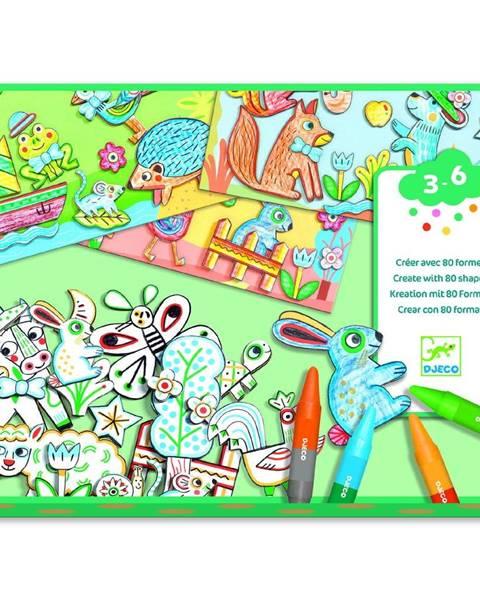 Djeco Výtvarný set na vyfarbovanie a nalepovanie Djeco Animal Friends