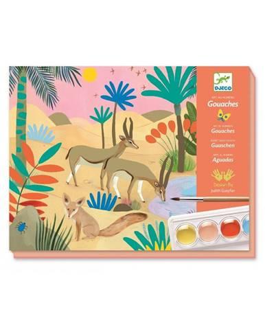 Výtvarný set s farbami a štetcom Djeco Aquarel Animals