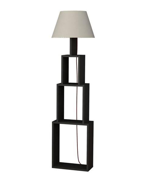 Homitis Antracitová voľne stojacia lampa so svetlosivým tienidlom Homitis Tower