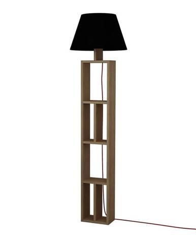 Hnedá voľne stojacia lampa s čiernym tienidlom Giorno