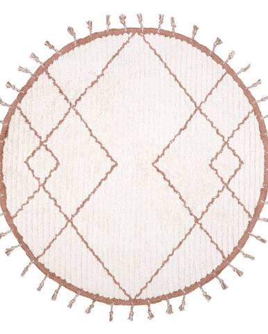 Bielo-hnedý bavlnený ručne vyrobený koberec Nattiot, ø 120 cm