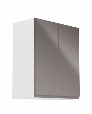 Horná skrinka biela/sivý extra vysoký lesk AURORA G602F