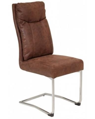 Jedálenská stolička Brenda, hnedá vintage optika koža%
