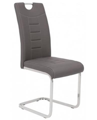 Jedálenská stolička Ruby, šedá ekokoža%