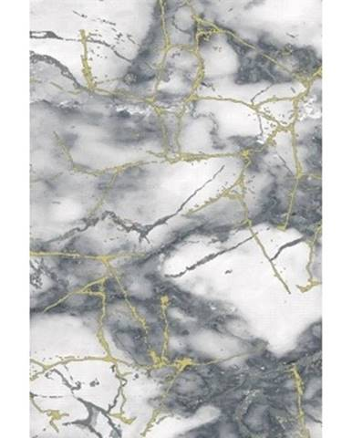 Koberec Craft 80x150 cm, mramorová optika, šedo-zlatý%