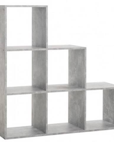 Regál so 6 priehradkami Udine 1, šedý beton%