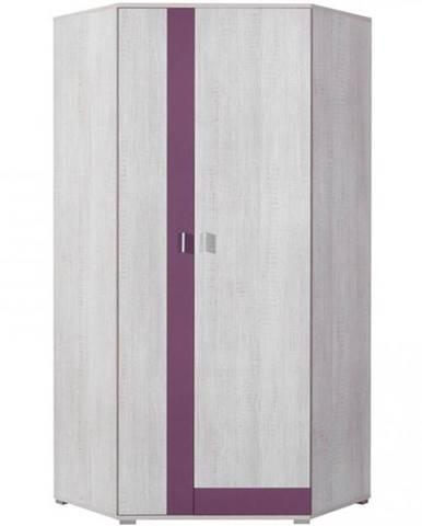 Rohová skriňa Next NX-2 90 cm borovica biela/viola