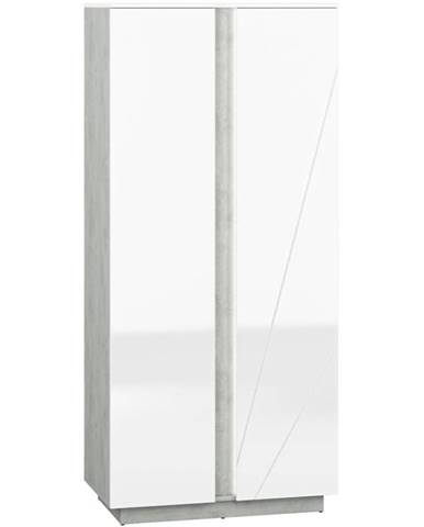 Skriňa Lumens 01 biely lesk/betón